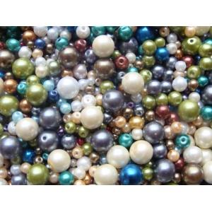 voskové perly-mix, barva červená, od 4-20 mm
