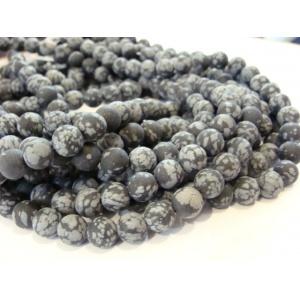 Vločkový Obsidián, 8 mm, pískový-ledový efekt, 4 ks