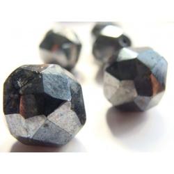 broušená perla, barva černo-kovová, 17 mm