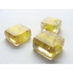 kostička, barva, zdobena zlatým žíháním, 12x12mm