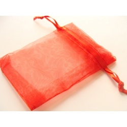 pytlíček, organza, barva červená, 85x65 mm