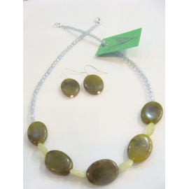 CITRUS.JASPIS+NEFRIT,souprava náhrdelník, náušnice