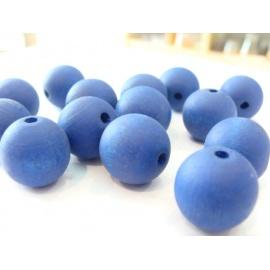 dřevěné korále, kulaté, barva modrá
