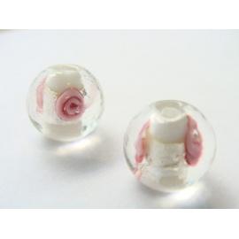 vinutá perle, kulatá, čirá, stříbrno-barevný průtah s vinutou kytičkou, tyrkysová