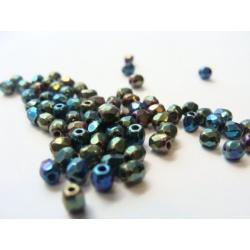 broušené perle, barva, 3 mm