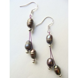 Říční perly, závěsy stříbro 925, cca 6x6 mm