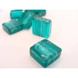 vinutá perle kostička zabarvené sklo tyrkysová č.10