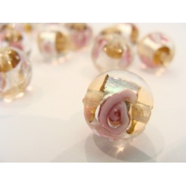 vinutá perle, kulatá, čirá, stříbrno-barevný průtah s vinutou kytičkou