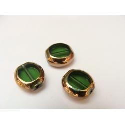 ovál, zelený, obvod pokoven zlatým kovem