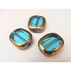 ovál, barva modrá, obvod zdoben zlatým kovem