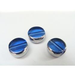 kulatá ploška, barva modrá, obvod zdoben stříbrným kovem