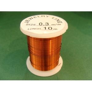 měděný drátek, síla 0,3 mm, barva tmavá meď, délka 10 m