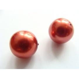 voskové perly, barva oranžová, velikost 12 mm