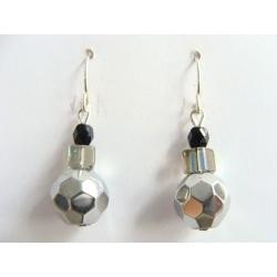 náušnice, jednoduché,stříbrno-černá, jablonecké sklo, ruční práce