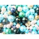 voskové perly-mix, barva modrá, od 4-20 mm