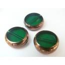kulatá ploška, tmavě zelená, obvod zdoben zlatým kovem